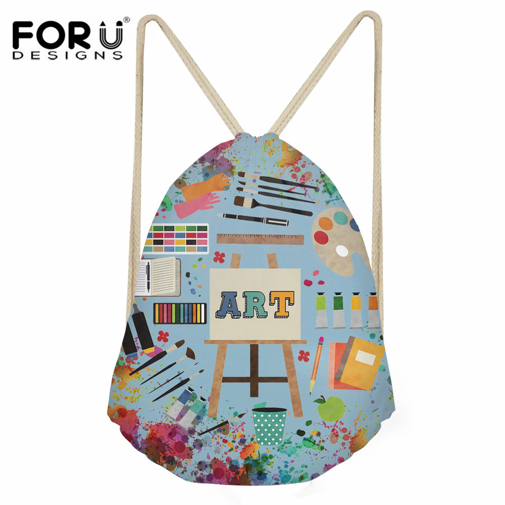 FORUDESIGNS Art Teacher Print Casual Small Drawstring Bag For Lady Daily Use Shoes Storage Bag Girl Travel Cinch String Backpack