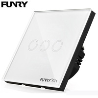 Funry ST1 EU 3G Smart Wireless Remote Control Wall Light Touch Switch Crystal Glass Panel Waterproof
