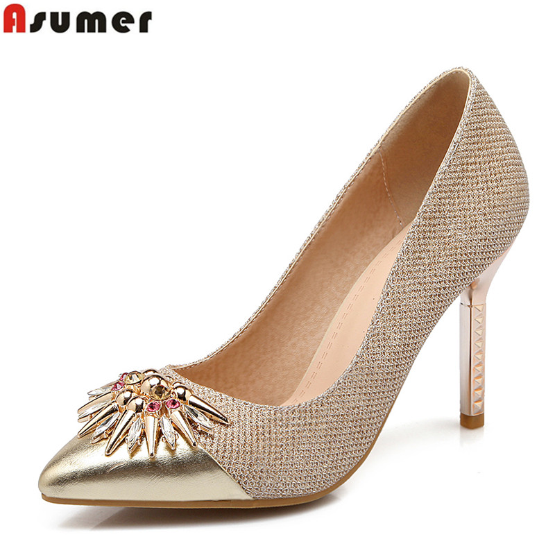 ASUMER 2018 New arrive high quality pointed toe women pumps high heels ladies party wedding bridal shoes woman gold new arrival fucshia color pointed toe women wedding shoes 10cm high heels woman pumps ladies fashion shoes free shipping