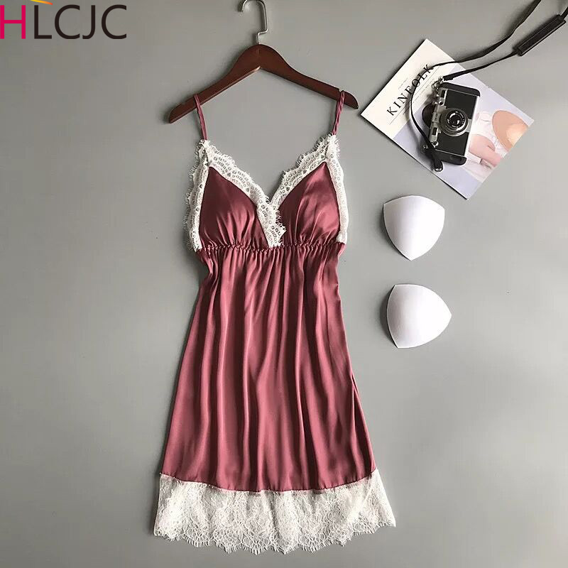 2019   Nightgowns   &   Sleepshirt   Silk Sleepwear Women Lace Nightdress Ladie Satin Sexy Lingerie Nightshirts Sleep Lounge