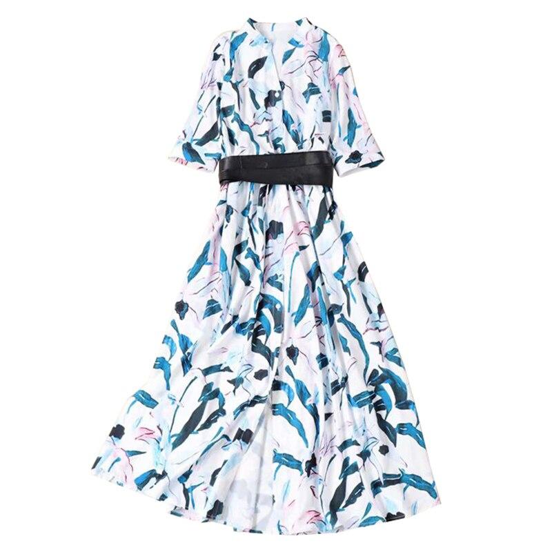 2019 jesień kobiety floral print luźna koszula sukienka długa sukienka z rozcięciem sznurkiem talii skórzany pas przyciski wysoki kobieta sukienki w Suknie od Odzież damska na  Grupa 1