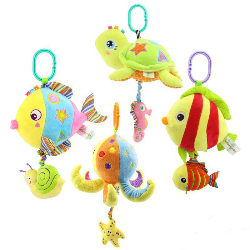 Baby Multifunctional  Stroller Toys Mobiles Soft Cotton Infant Pram Animal Plush