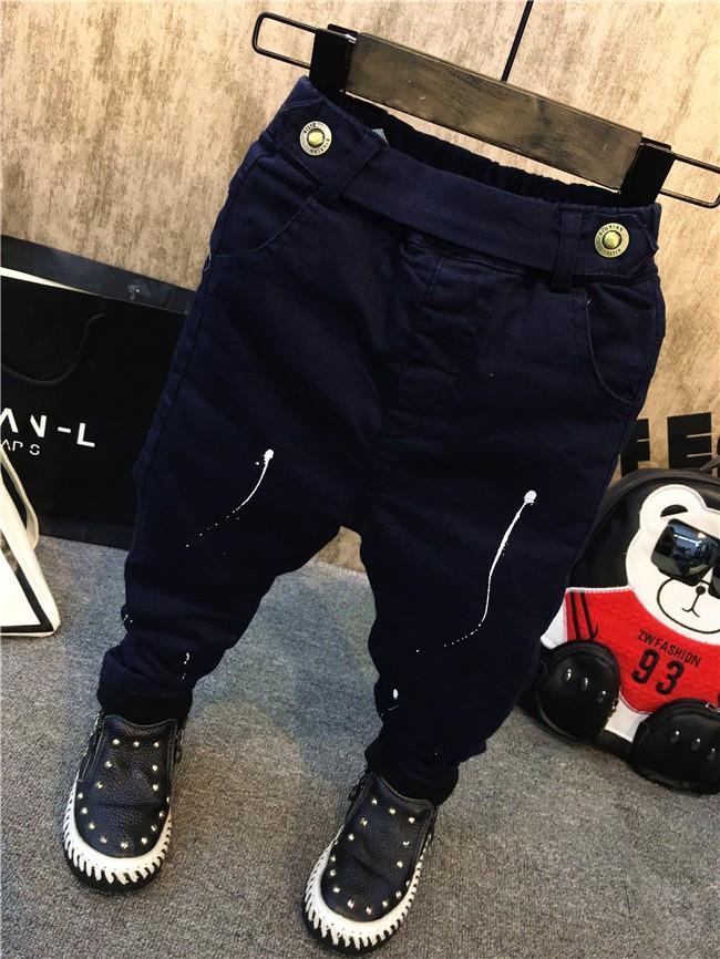 children baby boys autumn winter thick warm jeans pants (13)