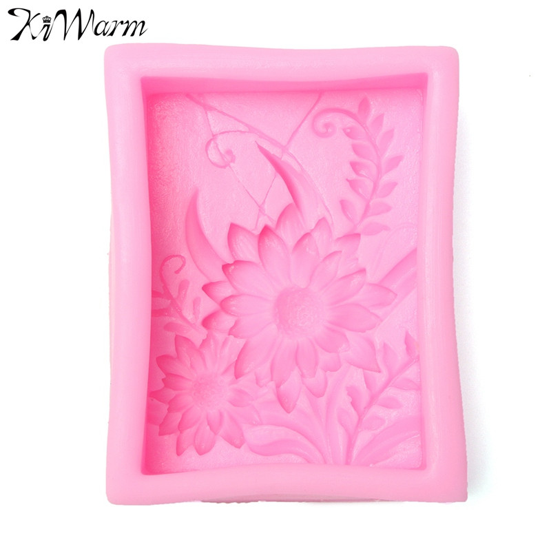 KiWarm Beautiful Pink Sunflowers 3D Soap Making Mould Silicone Design Mould Soap Mold DIY Crafts Handmade Tool Supplies Gift