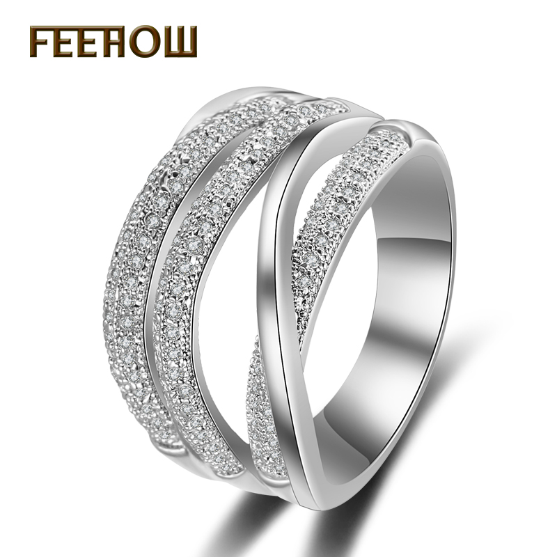 FEEROW Exquisite Cubic Zirconia Micro Inlay Finger font b Rings b font with Silver Plated Staggered