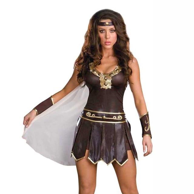 Women's Roman Gladiator Costume Adult Xena Warrior Princess Dress Up Ladies  Ancient Greek Goddess Costumes Halloween
