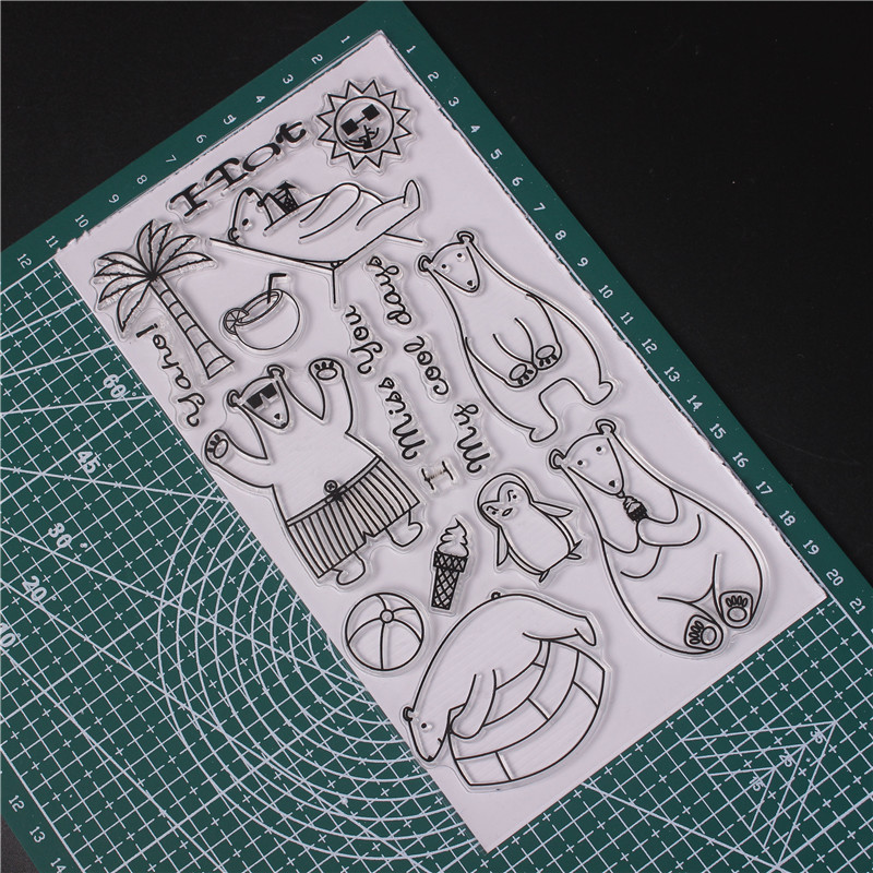 Transparent Clear Silicone Stamps for DIY Scrapbooking Card Making diy photo Roller album Decorative Cartoon Bear Stempel U in Stamps from Home Garden
