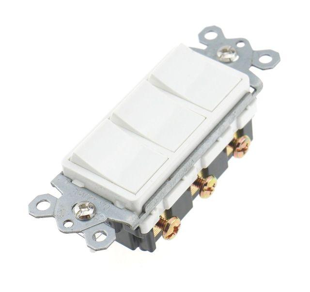 Decora Triple Rocker Switch three single pole switch 120V 15A ...