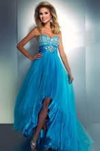 Fabulous Beading Ruched Sweetheart Bodice Bow Back Turquoise Orange High Low Prom Dress 2014 New Arrival Free Shipping