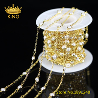 New 5Meters 4mm Flat Round Coin White Pearl Plated Golden Wire Wrapped Links Pearl Beaded Chains Bracelet Necklace Supplies BH17