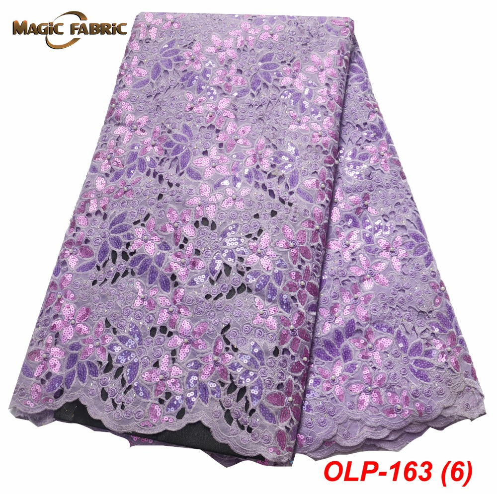 Mode africaine Organza dentelle tissu paillettes tissu broderie dentelle garniture haute qualité africain nigérian dentelle pour fête OLP-163