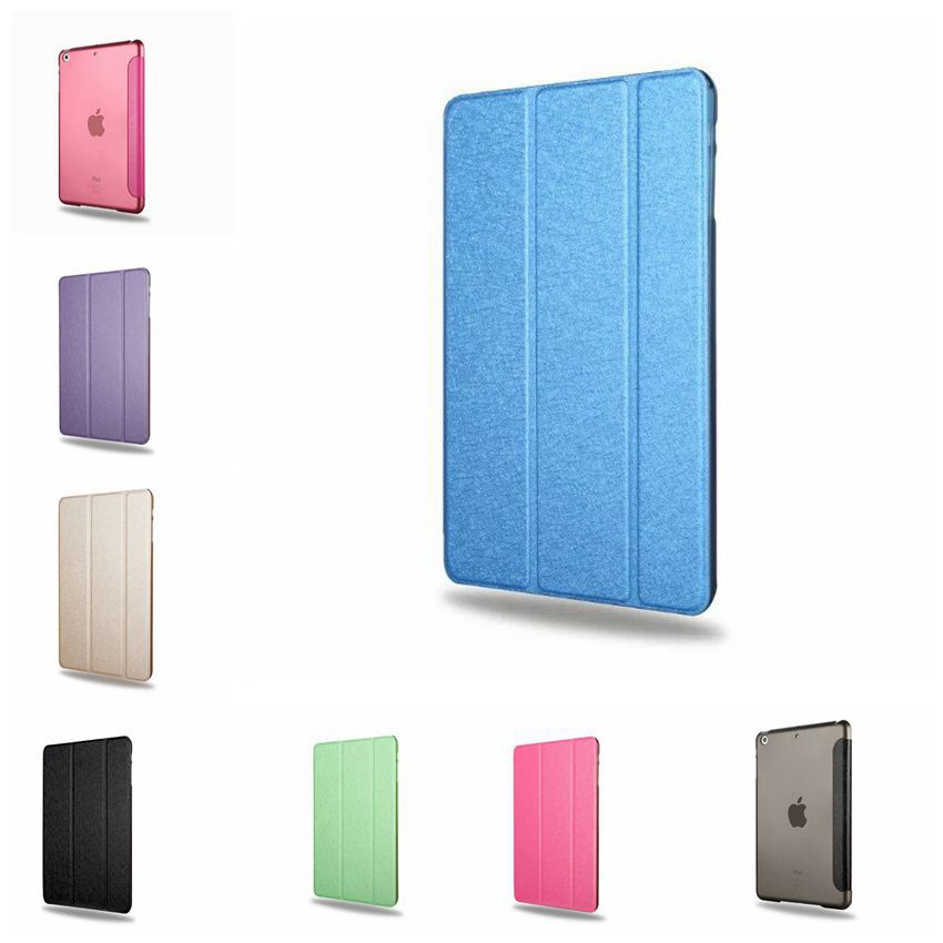 For Ipad Mini Case Three Fold Silk Smart Wake Clear Leather Case For Ipad Mini 1