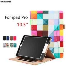 Funda de piel Para iPad Pro 10.5 Colorfull Imprimir Soporte Inteligente Caso de la cubierta Para el Nuevo ipad de Apple Pro 10.5 Tablet Cases + Protector