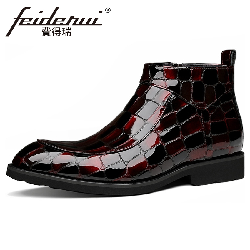 New Arrival Design Patent Leather Mens High-Top Ankle Boots Luxury Round Toe Handmade Cowboy Riding Man Chukka Shoes YMX660New Arrival Design Patent Leather Mens High-Top Ankle Boots Luxury Round Toe Handmade Cowboy Riding Man Chukka Shoes YMX660