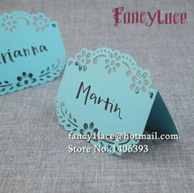 50pcs Flower Laser Party Table Name Place Cards Wedding Decoration Mariage favors And Gifts Supplies Decor