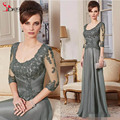 2016 Green Mother of the Bride Dresses 3 /4 Long Sleeves Groom Suits Chiffon Evening Gowns Appliques Plus Size Formal Dress