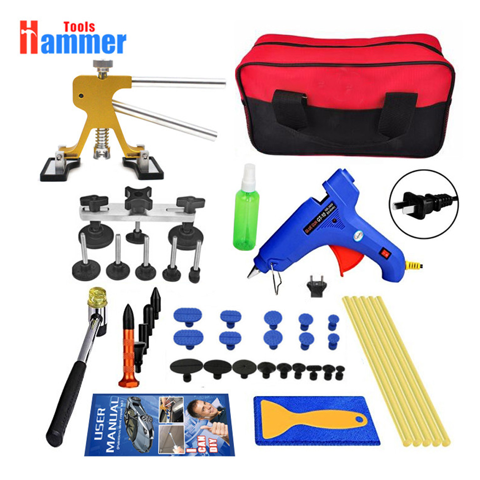 Paintless Dent Repair Tools Kit PDR Tools with adjustable Golden Dent Lifter Pops a Dent