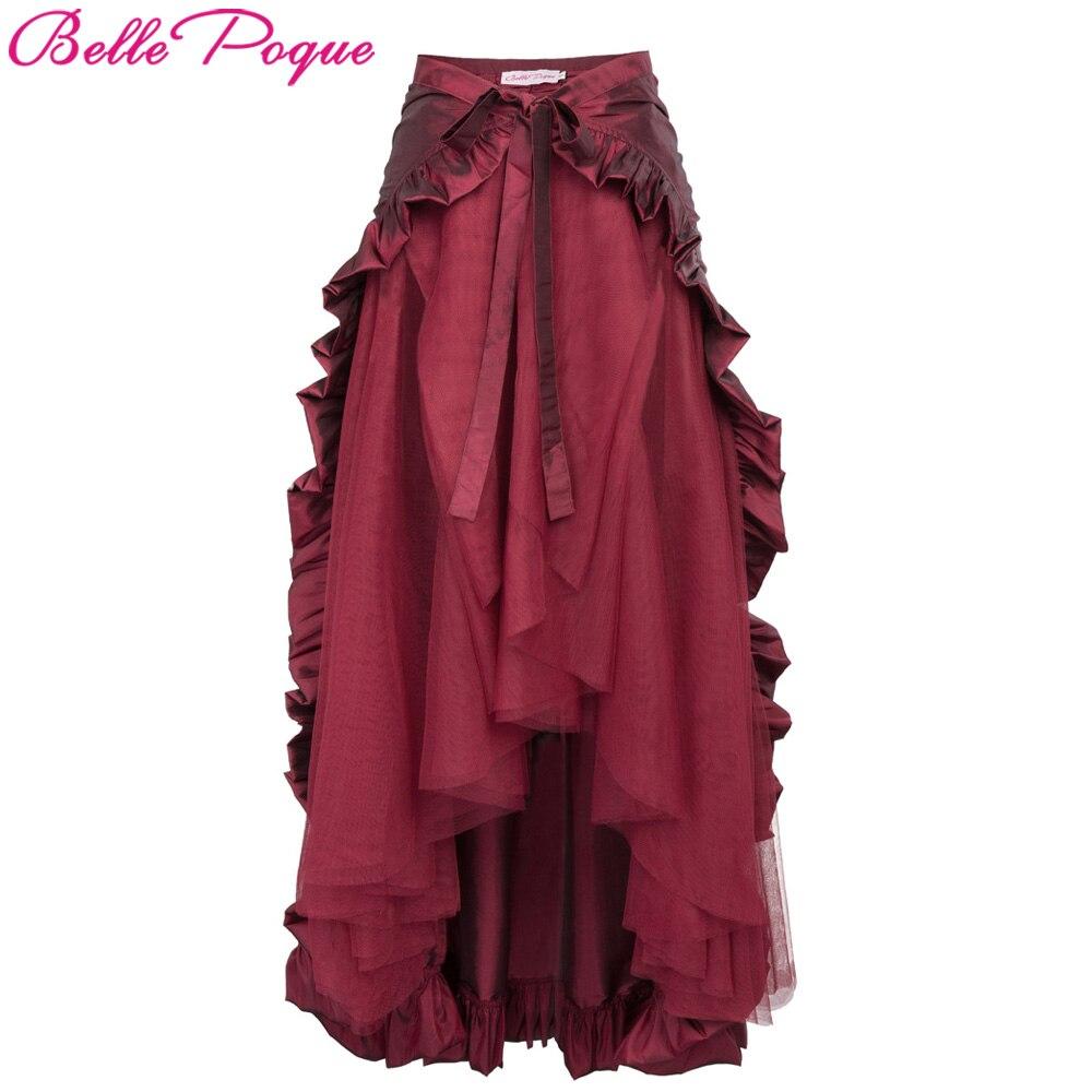 Mujeres Steampunk traje ropa volantes Burlesque falda Retro Vintage alta cintura larga Maxi faldas 2018 verano Punk gótico