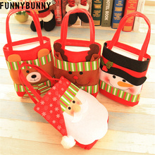 FUNNYBUNNY Christmas Candy Handbag Portable Cute Xmas Gift Bags Stocking Ornaments Home Party Decor