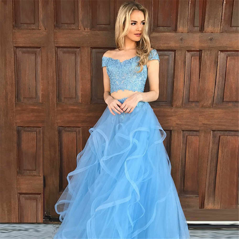 381599d0137 Hot Selling Light Blue 2 Piece Prom Dresses Boat Neck Off The Shoulder Lace  Tulle Long