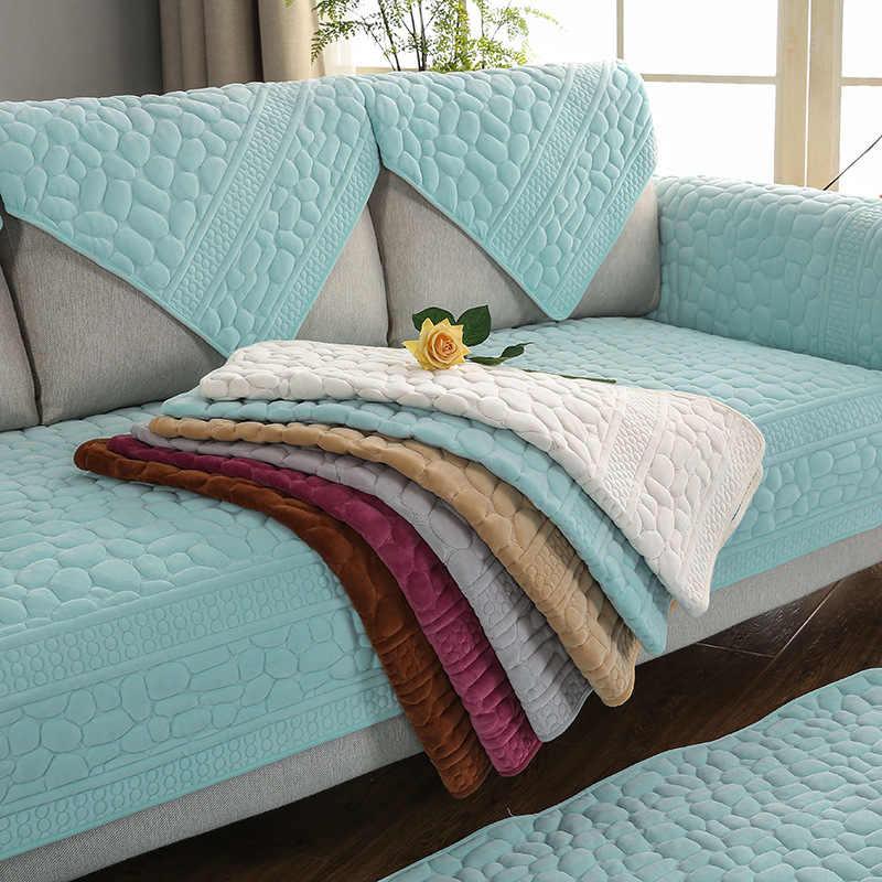 3d Stone Pattern Sofa Cover Towel Slipcover Plush Fabric Thick Sofa Modern Non Slip Sofa Couch Cover Corner Towel Mats 1pcs
