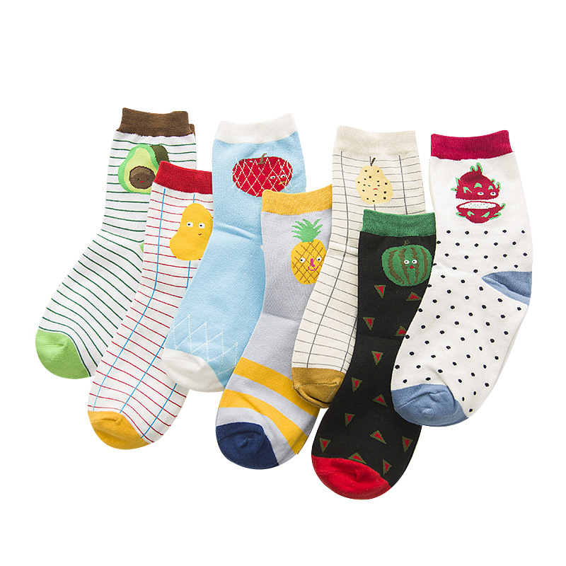 5 Pairs Woman Sock Brand Fashion Creative Fruit Patterns Tide Cotton Sock For Women Cute Apple Watermelon Pineapple Stripes Sock ...