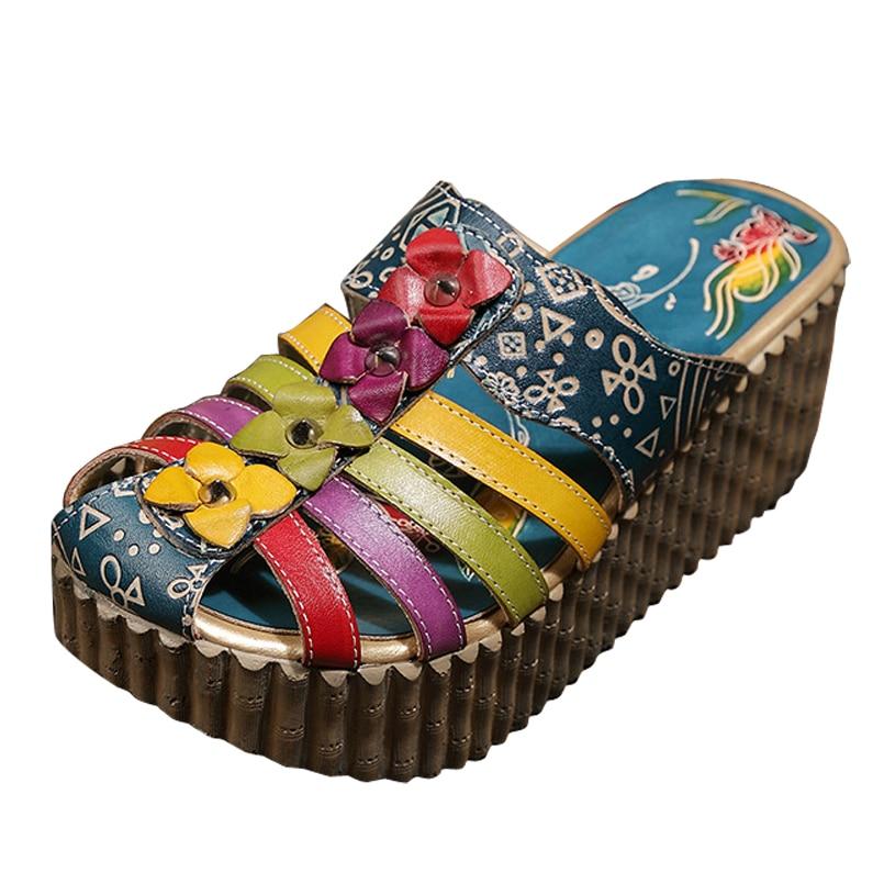 Z women sandals summer ethnic floral thick high heel platform sandals flip flop women casual shoes