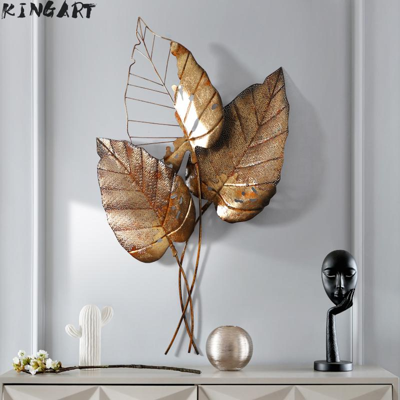 Home Hanging 3d Wall Plaque Large Iron Wall Leaf Home Metal Wall Frame Living Room Picture Frame For Home Bar Decor Big Wall Art