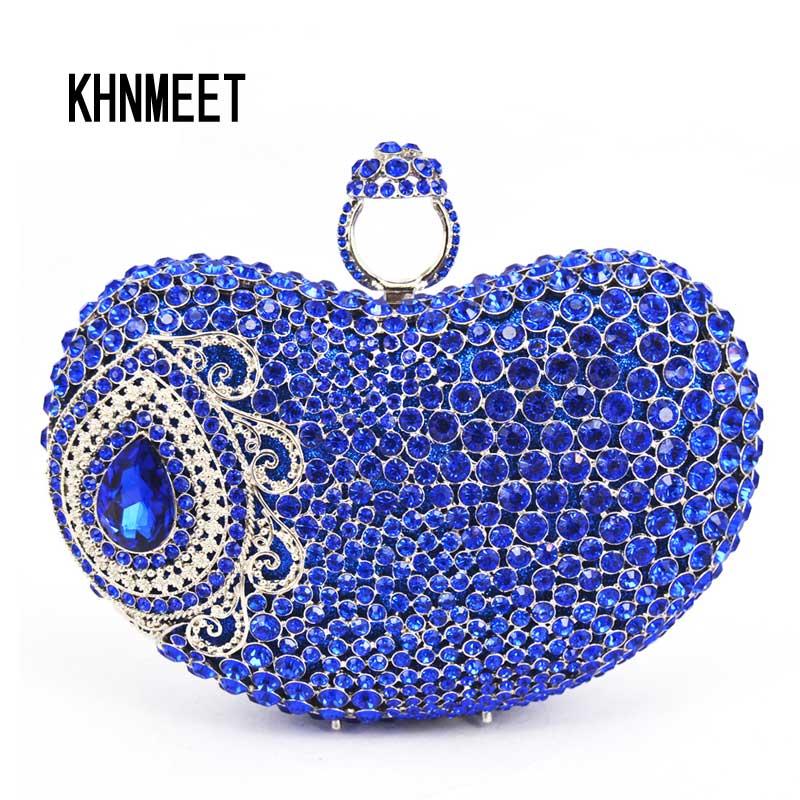 2017 Finger Ring Evening Bag Royal Blue Luxury Crystal Bridal Party Purse Diamond Wedding Bag Rhinestone Box Clutch Bag SC428