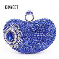 2017 Palec Serdeczny Torba Wieczór Royal Blue Luksusowe Kryształ Bridal Party Torebka Torba Diamentowe Wesele Rhinestone Box Clutch Bag SC428