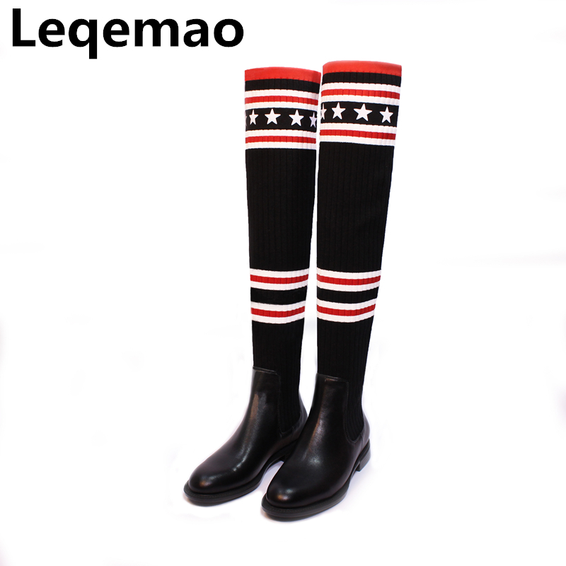 Fashion Socks Boots Women Over The Knee High Autumn Winter Knitted Shoes Long Thigh High Boots Elastic Slim Size35-40 Leqemao lcx 2017 new fashion sweet lady shoes high thigh knee autumn winter over the knee casual women boots plus size boots for women