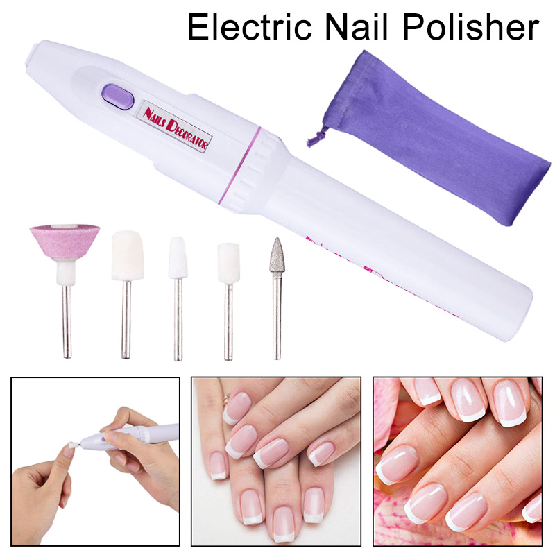 Electric Nail Drill Machine With 5pcs Grinding Head Polish File Drills Bit Pen Women Manicure Pedicure Nail Art Tool
