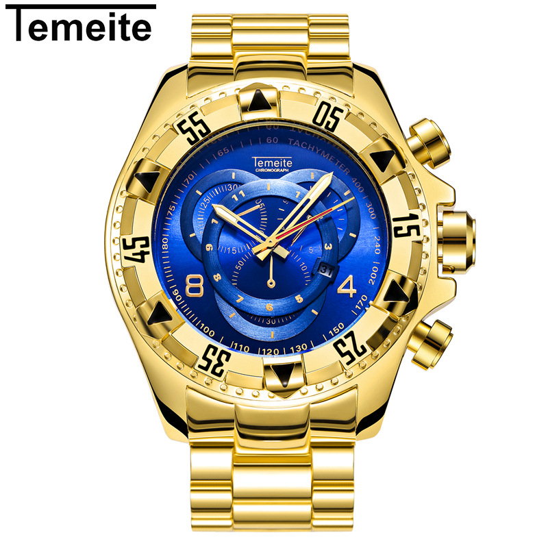 luxury gold blue fashion male clocks temeite brand stainless steel men wristwatches Large dial waterproof calendar man watches цена