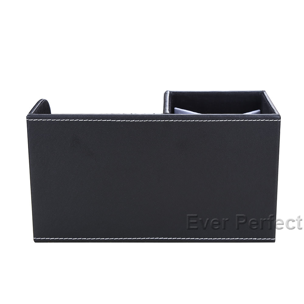 Купить с кэшбэком Multi-Functional Desk Stationery Organizer Storage Boxes & Bin Wooden PU Leather Pen Holder Pencil Box Case Containers + Drawer