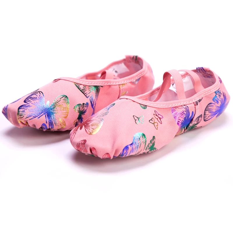 Pink Butterfly Canvas Soft Sole Professional Yoga Ballet Shoes Children Adults Ballerina Teacher Practice Performance Slipper