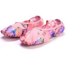 Pink Butterfly Canvas Soft Sole Professional Yoga Ballet Shoes Children Adults Ballerina Teacher Practice Performance Slipper