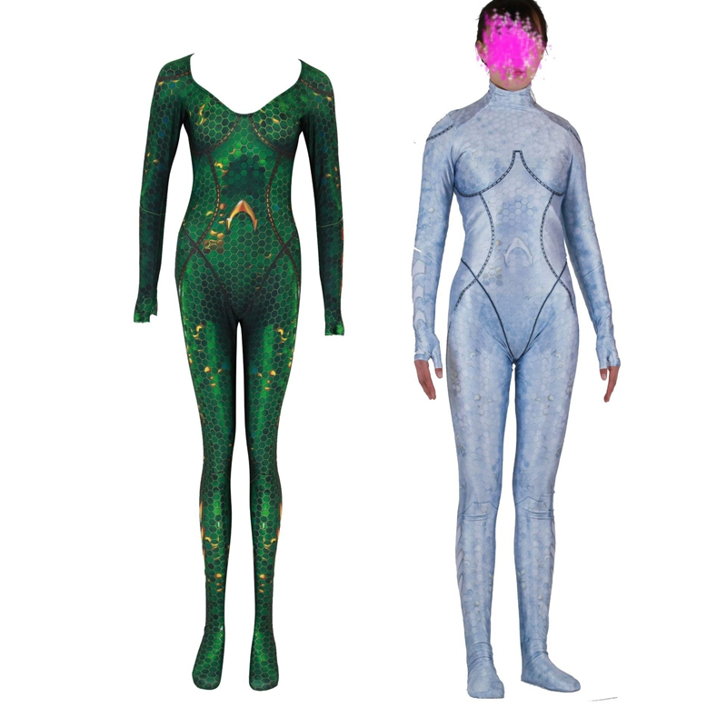 FOGIMOYA New Women Kids Movie Aquaman Mera Queen Cosplay Costume Zentai Bodysuit Suit Jumpsuits