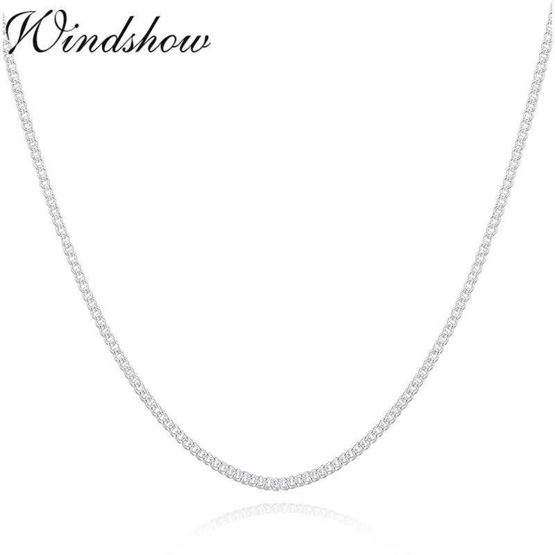 "14""-32"" Slim Thin Pure 925 Sterling Silver Side Curb Chain Choker Necklaces For Women Girl Jewelry kolye collare collier ketting"