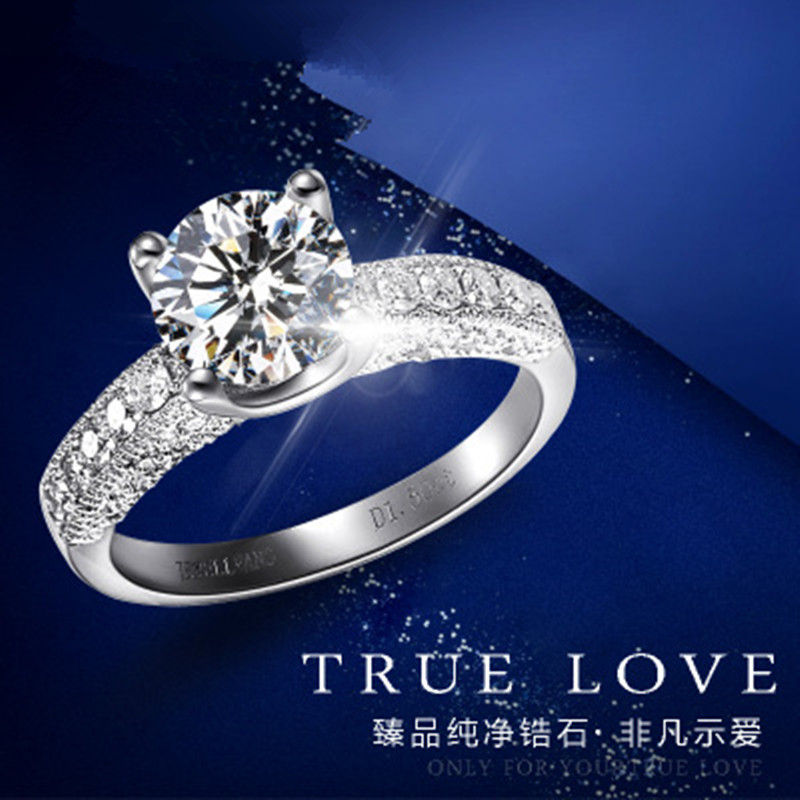 2017 new fashion personality high quality 100% 925 sterling silver jewelry luxury crystal woman engagement ring