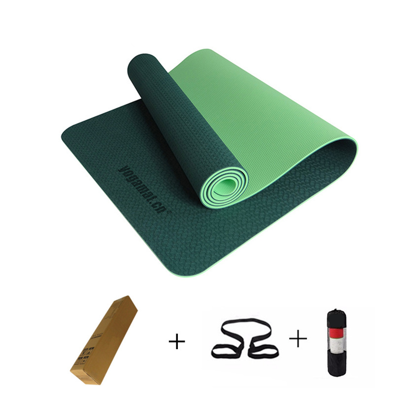 TPE Yoga Mat esterilla yoga mat for fitness pilates 6mm 183*61*0.6 Tasteless for Beginners yoga-mats-fitness Free shipping dature tpe yoga mat 6mm fitness mat fitness yoga sport mat gymnastics mats with yoga bag balance pad yogamat 183 61cm 6mm
