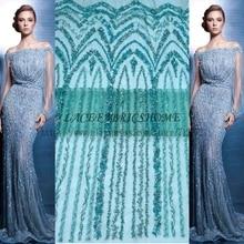 Горячая мода стиль зеленый бисероплетение кружевной ткани свадьба/вечернее платье кружевной ткани 1 двор