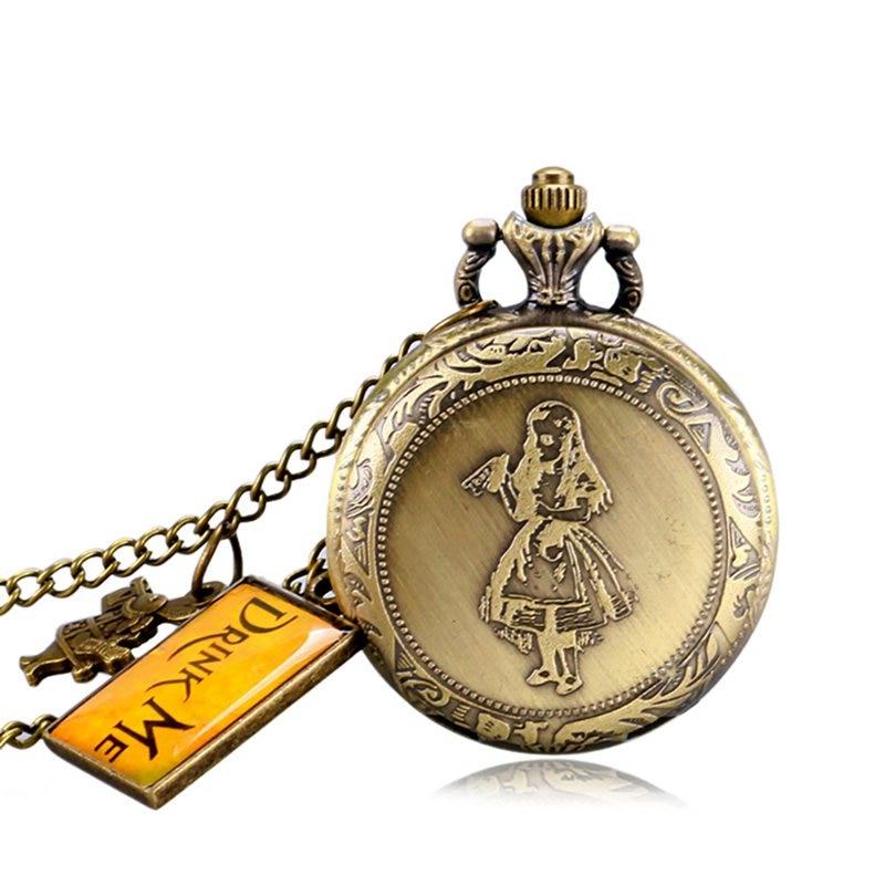 Alice in Wonderland Mad Hatter Rabbit Drink Me Tag Quartz Pocket Watch Dark Brown Glass Necklace Pendant Gifts for Women Girls 2019 2020 2021 2022 (7)