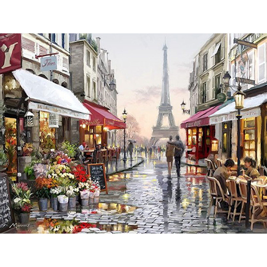 Europe City Street Painting By Numbers DIY Handpainted Christmas Gift Abstract Coloring By numbers On Canvas Wall Decor No Frame