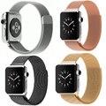 Pulseira de aço inoxidável strap para apple watch band pulseira milanese laço magnético com conector adaptador para iwatch 38mm 42mm