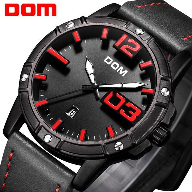 DOM Men's Casual Leather Business Calendar Date Display Waterproof Quartz Watches