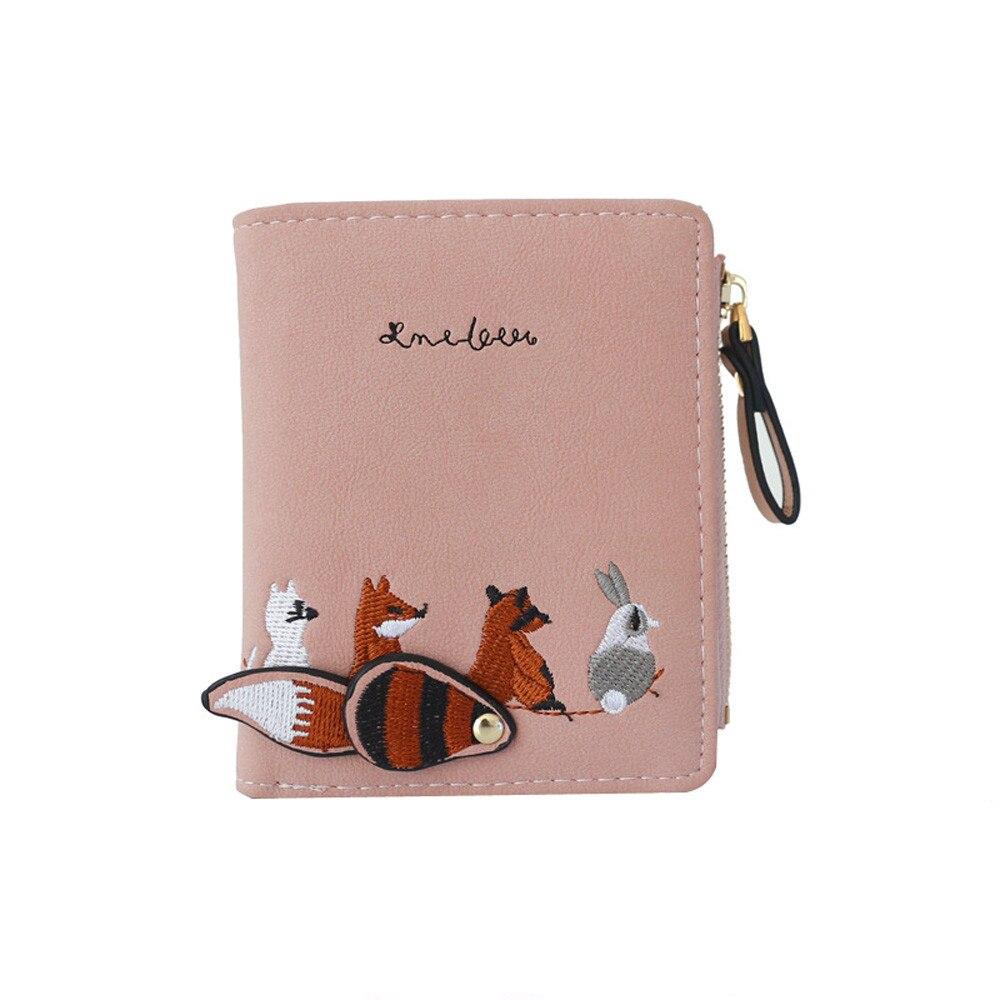 Высококачественный Женский кошелек с милыми мультяшными животными, короткий кожаный женский маленький кошелек для монет, кошелек на молнии, держатель для карт для девочек - Цвет: Розовый