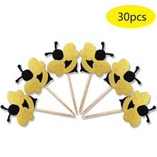 METABLE 30pcs Glitter Bumble Bee Cupcake Toppers, Baby Gender Reveal Shower Party Cake Food Decoration Supplies