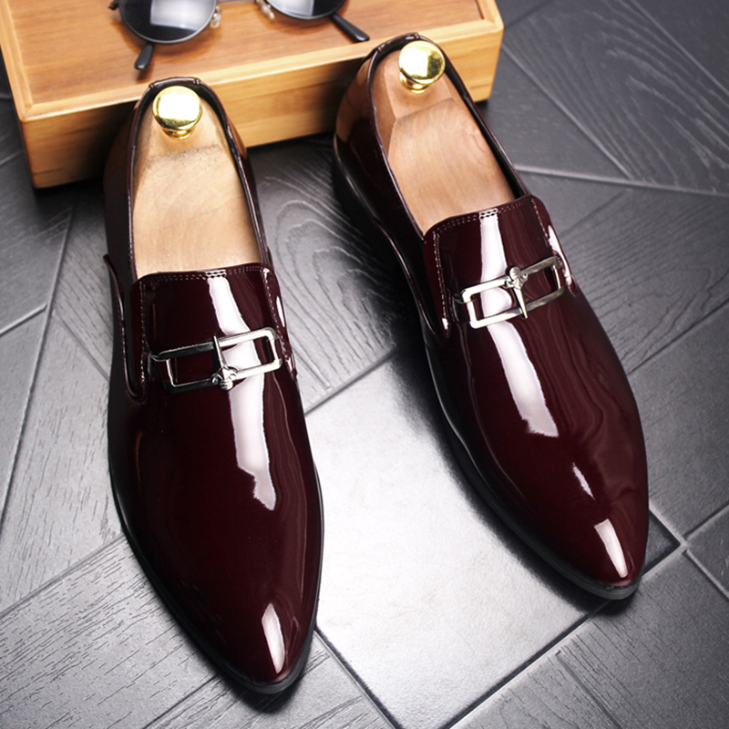England style mens casual business wedding formal dresses cow leather shoes large size pointed toe oxford shoe smoking slippers 1