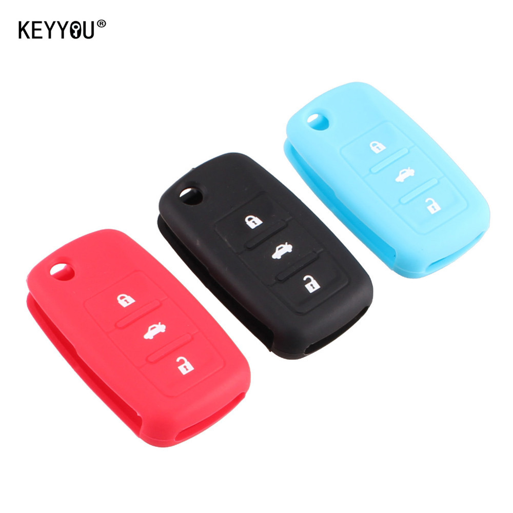 KEYYOU NEW silicone car key cover for VW Volkswagen Passat Polo Golf Touran Bora Leon SKODA Octavia Fabia 3 Buttons carbon fiber ignition switch decoration modified key hole for skoda octavia fabia yeti vw passat bora polo golf 6 jetta mk5 mk6
