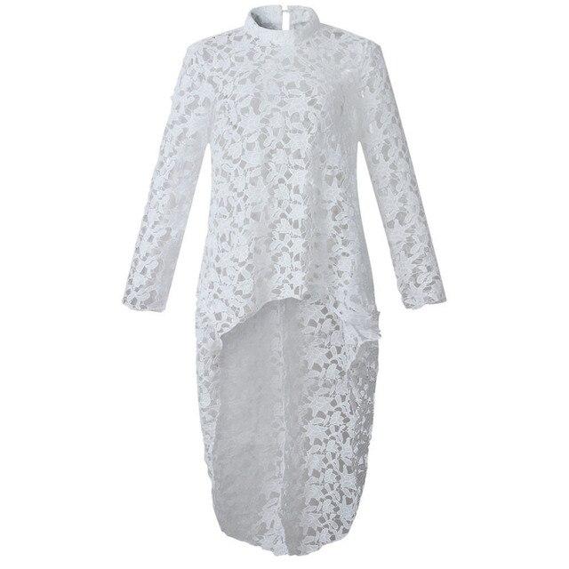 2019 Spring Autumn Women Lace Hollow Out Shirt Long Sleeve Irregular Tops Blouse Loose flora printed Minimalism Blouse Tops 2